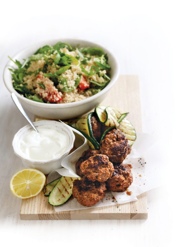 Smoky beef rissoles with couscous salad