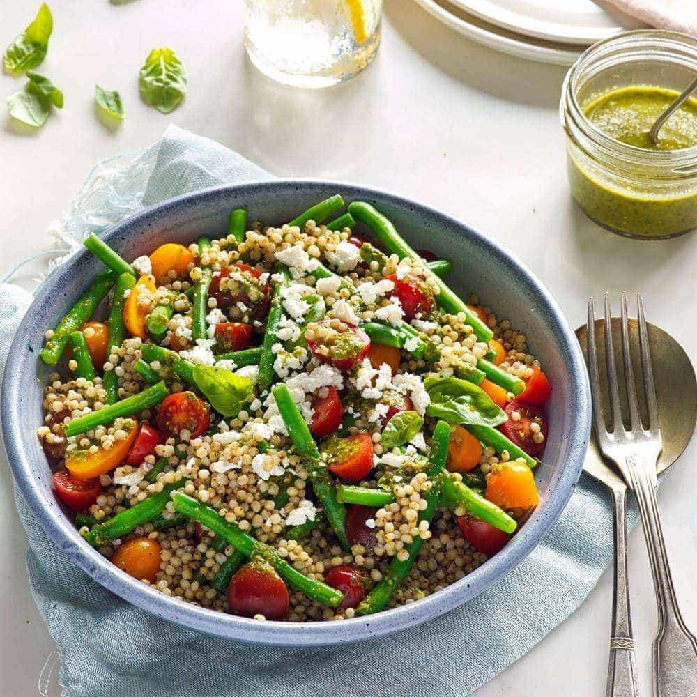 Sorghum, tomato and green bean salad with basil dressing