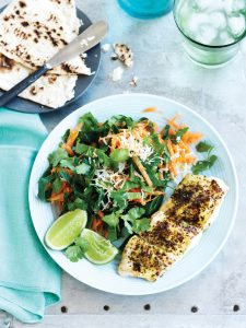 South Indian spiced fish with shredded carrot and coconut salad