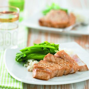 Soy-seared fish with ginger rice and Chinese greens