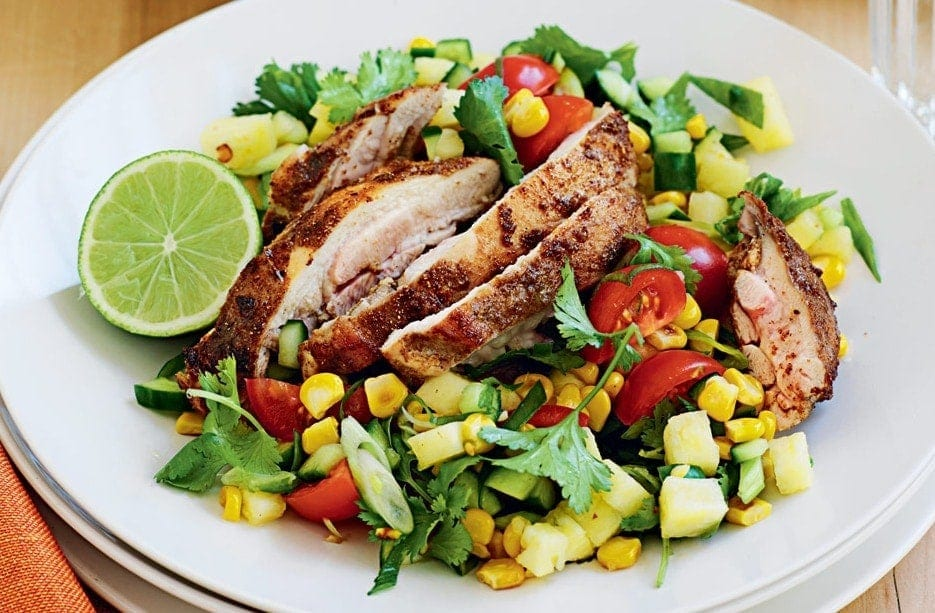 Spiced chicken with sweet corn salad
