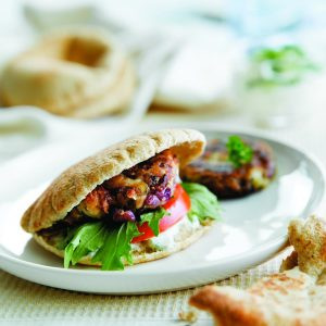 Spiced butter bean patties with yoghurt dressing