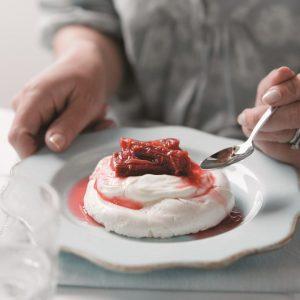 Spiced vacherin with baked rhubarb and Greek yoghurt