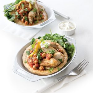Spicy chickpeas with chargrilled chicken