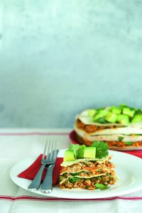 Spicy chicken and spinach cake