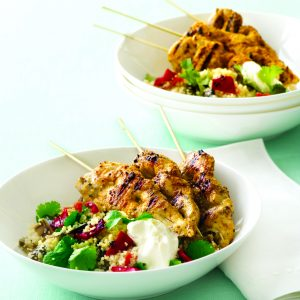 Spicy chicken skewers with vege couscous
