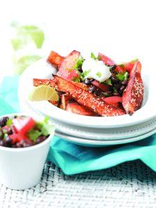 Spicy kumara wedges with black bean salsa