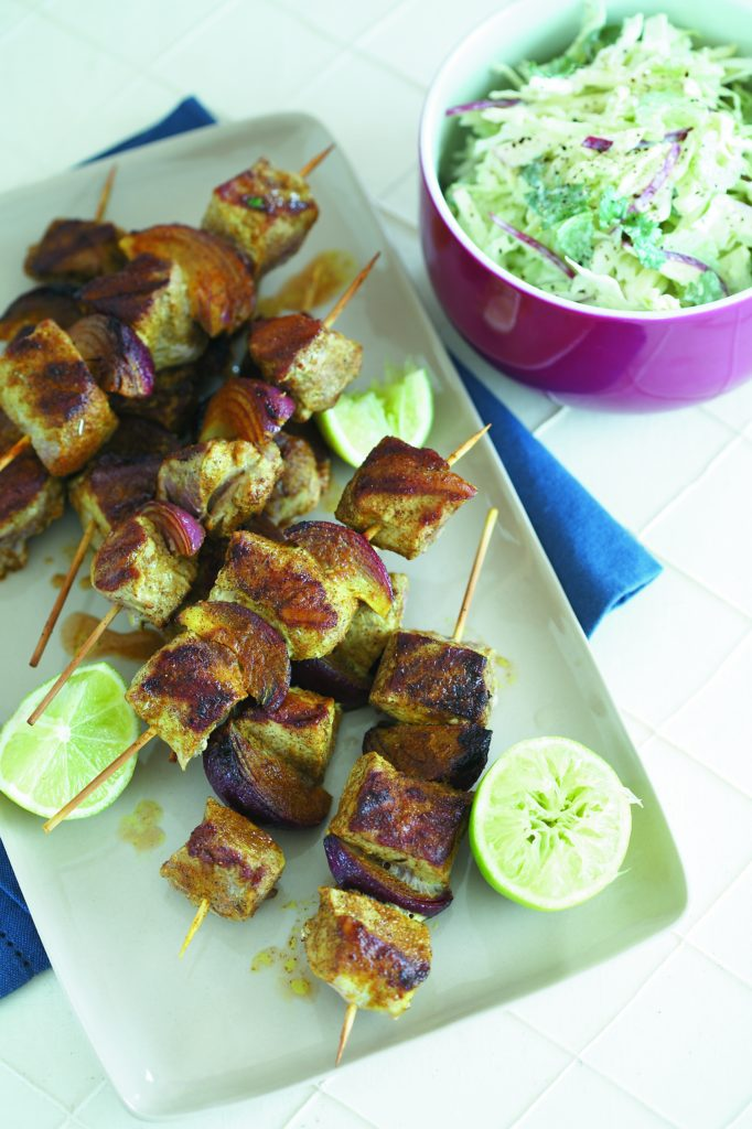 Spicy pork skewers with apple coleslaw