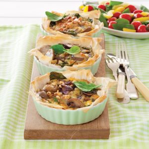 Spinach and mixed vegetable filo tartlets