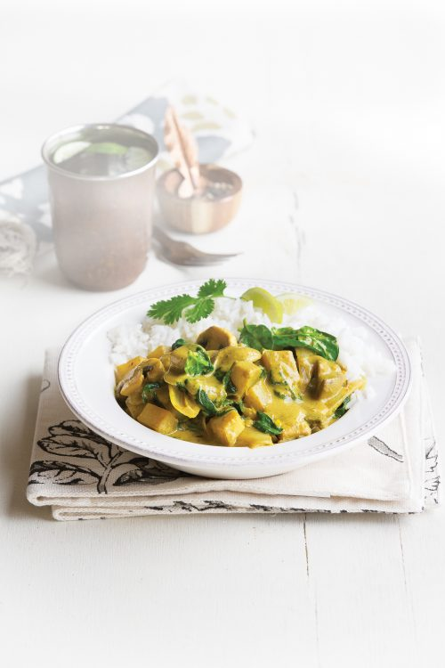 Spinach and potato curry