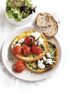 Spinach and ricotta omelette stack