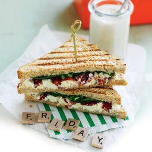 Spinach, ricotta and tomato toastie