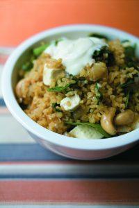 Spinach, feta, cashew nut and bulgar wheat pilau
