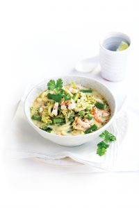 Spring vegetable soup with prawns