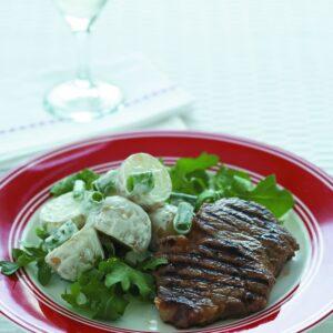 Steak Diane with potato salad