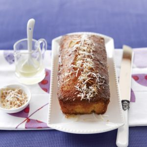 Sticky lemon, lime and coconut loaf