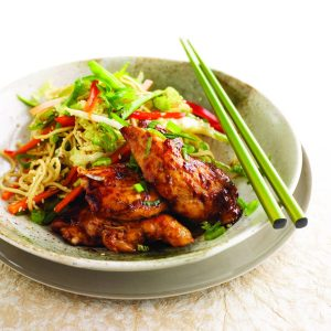 Sticky hoisin chicken with sesame noodle coleslaw