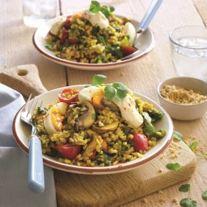 Stir-fried curried rice with soft-boiled eggs