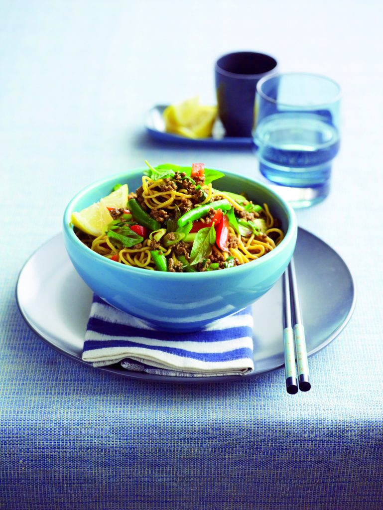 Stir-fried curried beef with noodles and basil