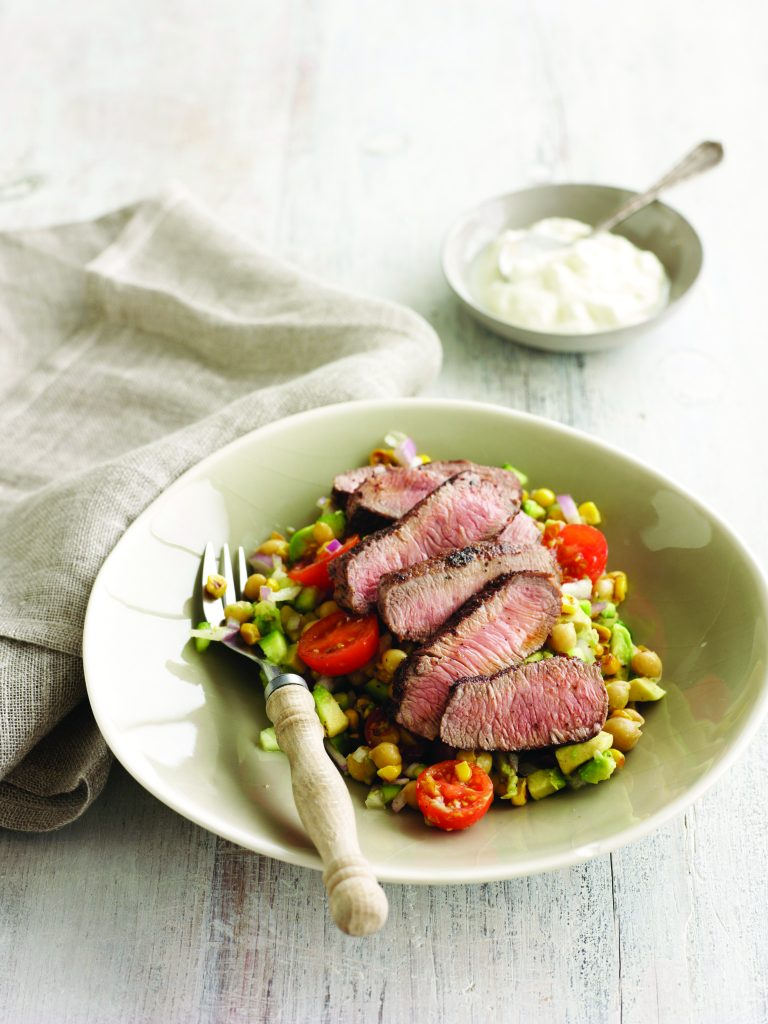 Sumac lamb with corn and chickpea salad