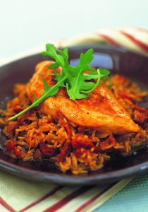 Sun-dried tomato and chicken pilaf