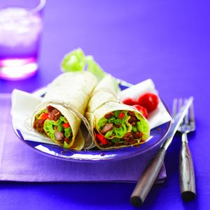 Sweet chilli pork wraps