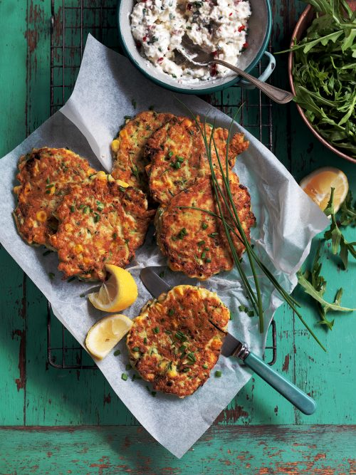 Sweetcorn, courgette and tofu fritters with chive yoghurt