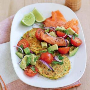 Sweet corn fritters with smoked salmon and avocado salsa