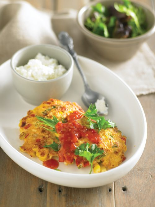 Sweet corn fritters with tomato chutney