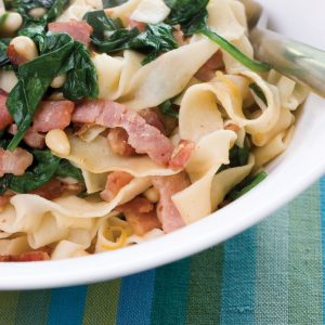 Tagliatelle with baby spinach and bacon