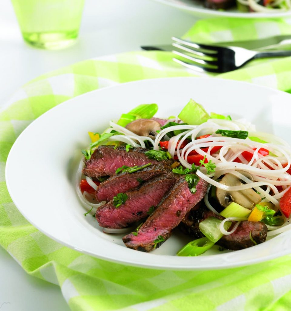 Tasty beef with noodles