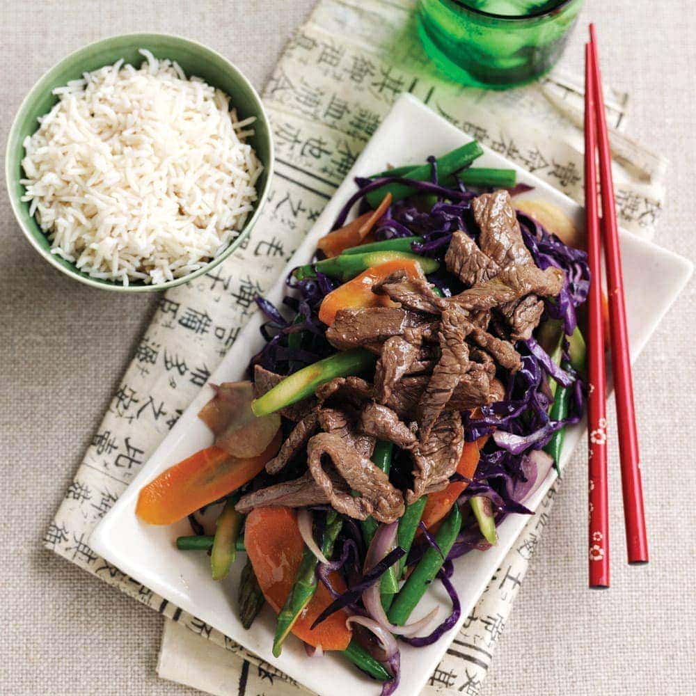 Teriyaki beef stir-fry with rice