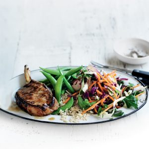 Teriyaki pork with pickled cabbage salad