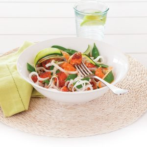 Teriyaki salmon with noodle salad