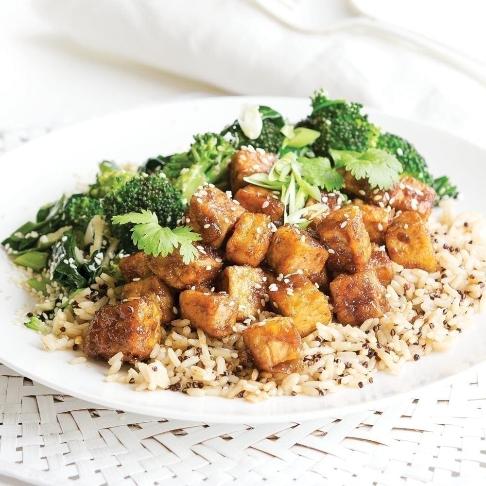 Teriyaki tofu with sesame greens