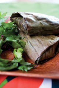 Thai fish in banana leaves