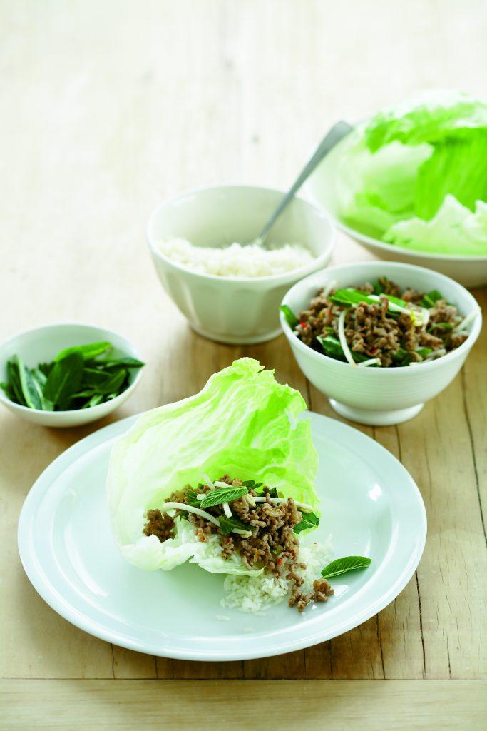 Thai pork lettuce wraps