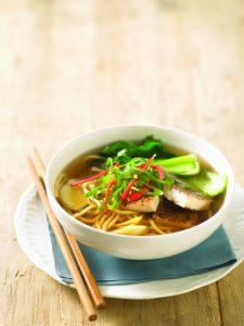 Tofu and egg noodle soup