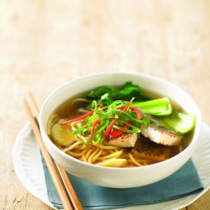 Tofu and egg noodle soup