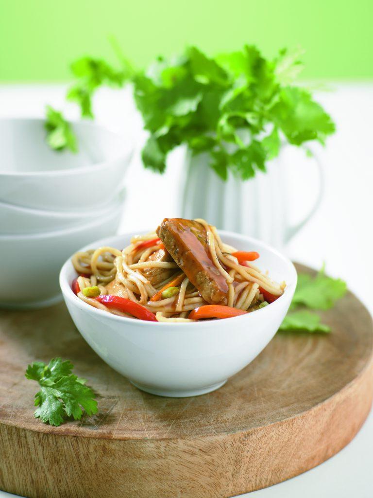 Tofu and noodle stir-fry