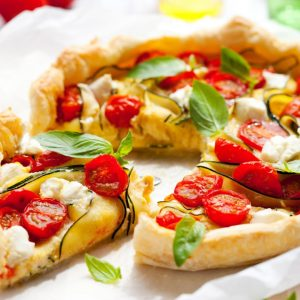 Tomato, parmesan and courgette quiche