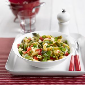Tomato, basil and asparagus penne