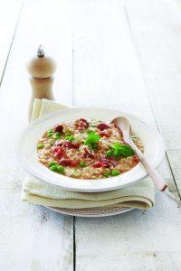 Tomato, chorizo and minted pea risotto