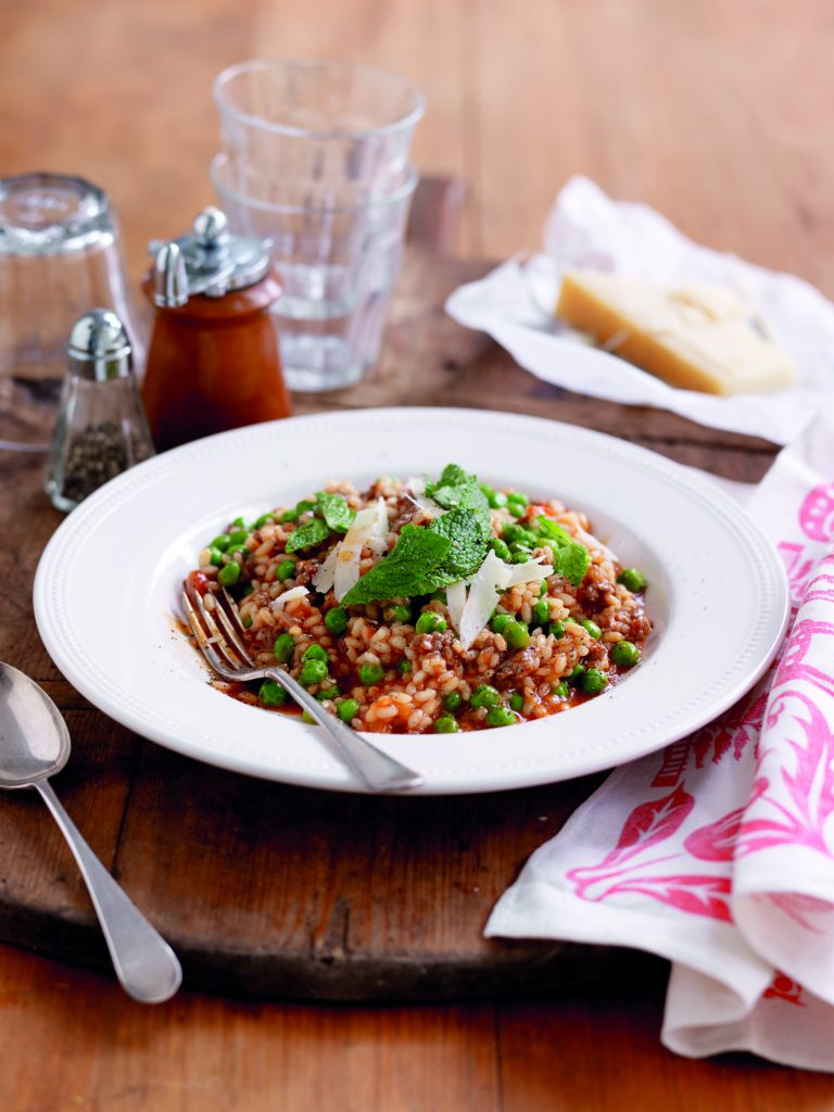 Tomato, sausage and minted pea risotto