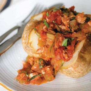 Tuna and basil sauce in jacket potatoes