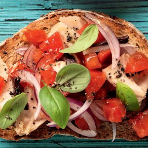 Tuna and olive bruschetta