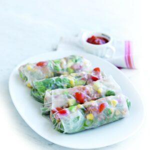 Tuna and avocado rice paper wraps