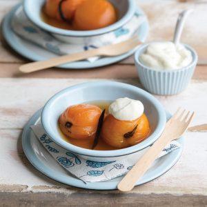 Vanilla poached apricots