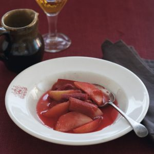 Vanilla-poached rhubarb and apple