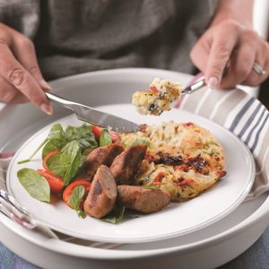 Vege sausage and tomato mash